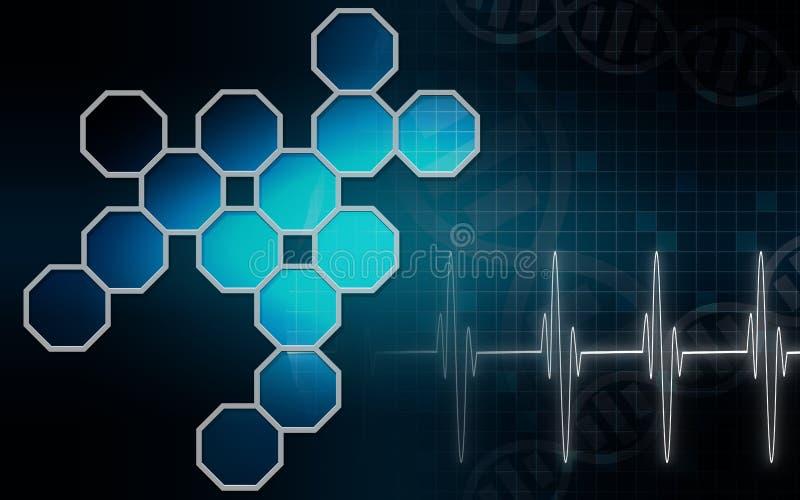Estructuras hexagonales en fondo médico stock de ilustración