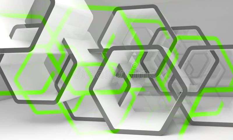 Estructuras hexagonales verdes blancas abstractas ilustración del vector