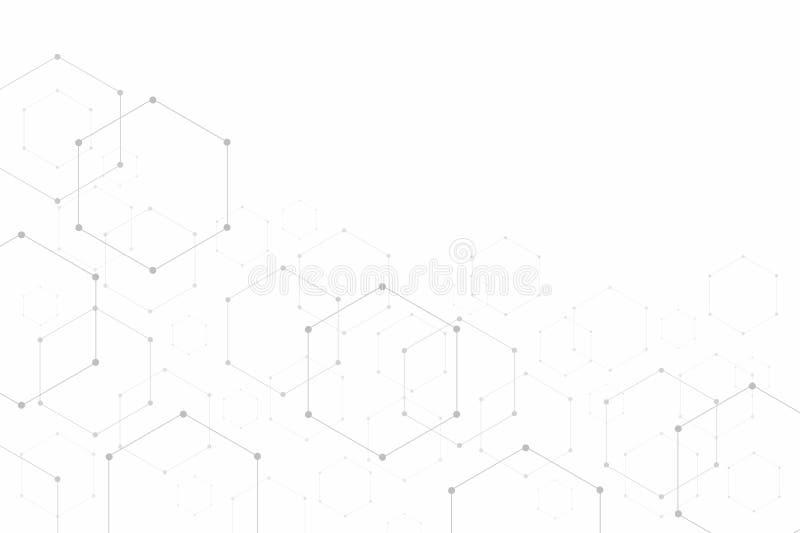 Estructuras moleculares hexagonales del extracto en el fondo blanco con el espacio de la copia stock de ilustración