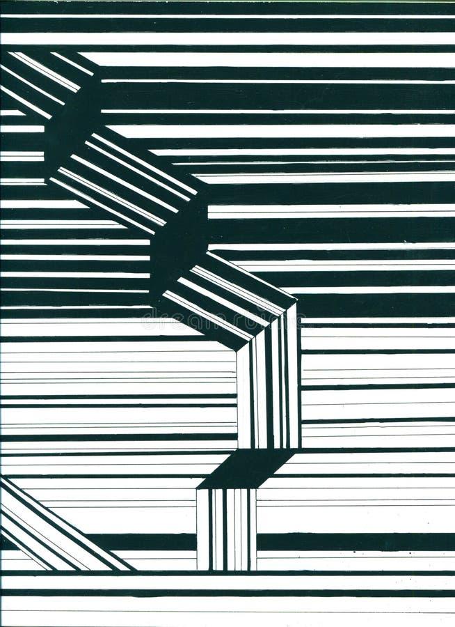 Estructuras moleculares hexagonales del extracto en fondo de la tecnología y estilo de la ciencia Las líneas exhaustas de la mano stock de ilustración