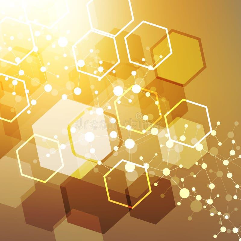 Estructure la molécula y la DNA de la comunicación, átomo, neuronas Concepto de la ciencia para su diseño Líneas conectadas con l stock de ilustración