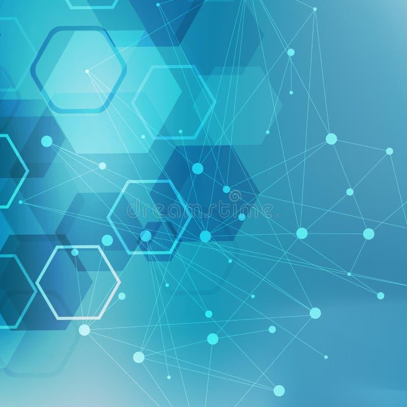 Estructure la molécula y la DNA de la comunicación, átomo, neuronas Concepto de la ciencia para su diseño Líneas conectadas con l ilustración del vector