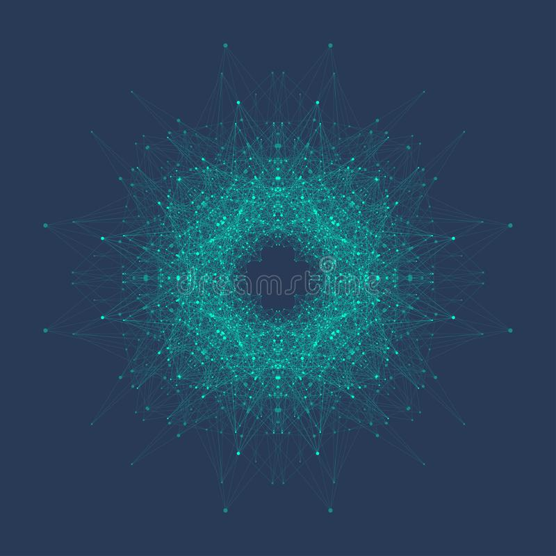 Estrutura abstrata da molécula Hélice do ADN, costa do ADN, molécula ou átomo, neurônios Estrutura molecular para a ciência ou ilustração royalty free