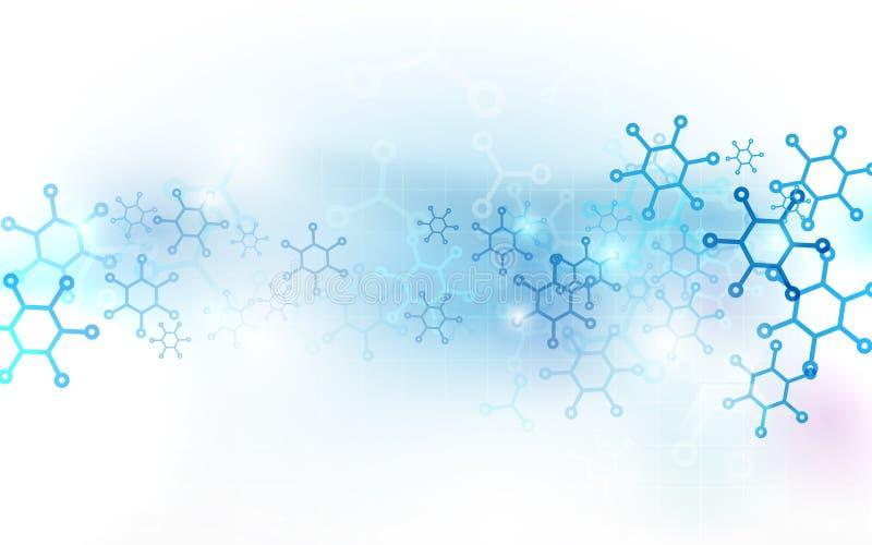 Estrutura abstrata das moléculas do ADN Fundo da ciência e da tecnologia ilustração do vetor