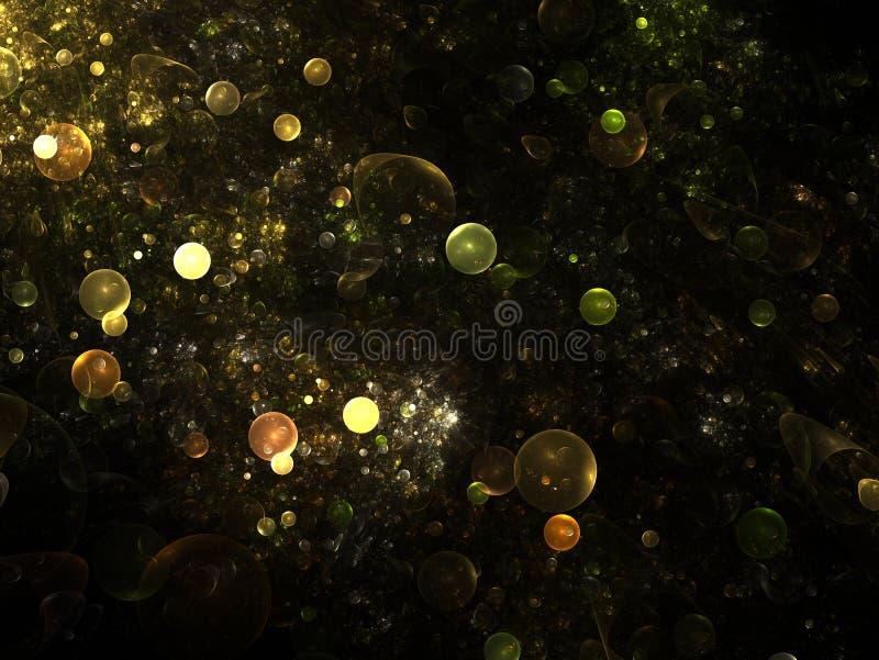 Estrutura abstrata do fractal que consiste em esferas ou em bolhas luminosas Fundo da elegância - gráficos das esferas do fractal ilustração stock