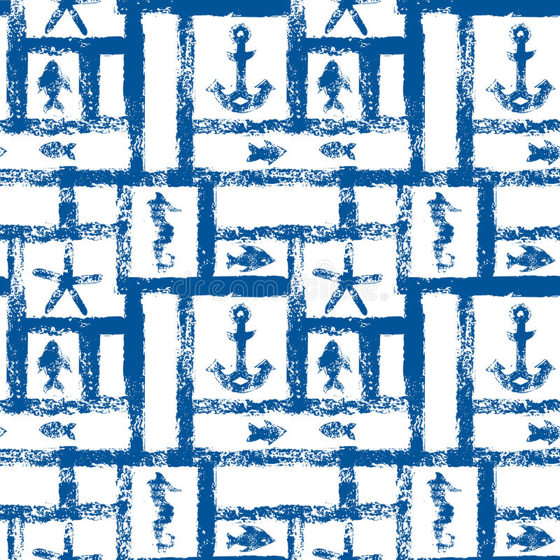 Estrutura azul e branca náutica do grunge com âncora, estrela e peixes, teste padrão sem emenda, vetor ilustração stock