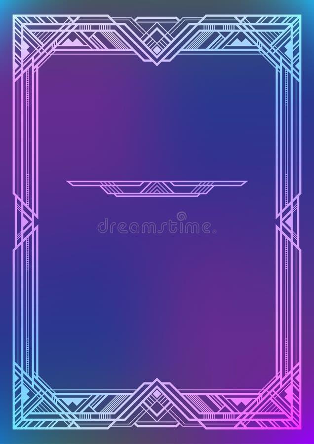 Estrutura branca retangular no fundo azul, estilo do art deco ilustração royalty free