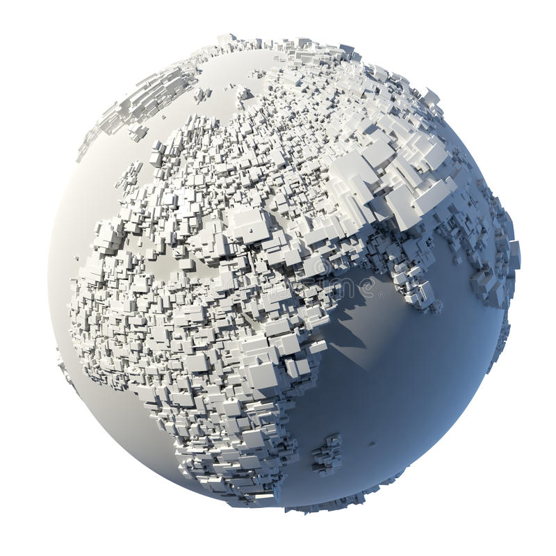 Estrutura cúbica da terra do planeta ilustração stock