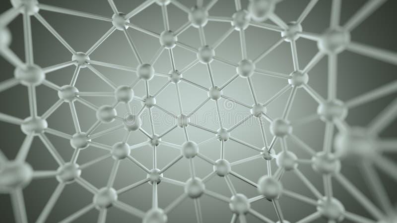 Estrutura caótica do plexo com linhas e rendição das esferas 3D ilustração stock