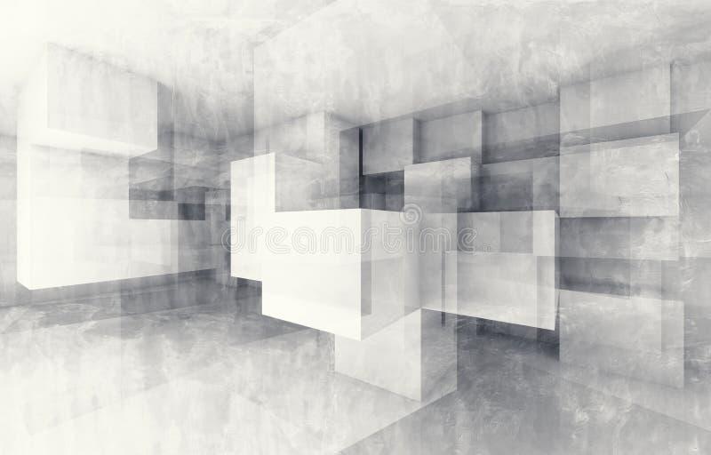 Estrutura caótica dos cubos 3d rendem com textura ilustração do vetor