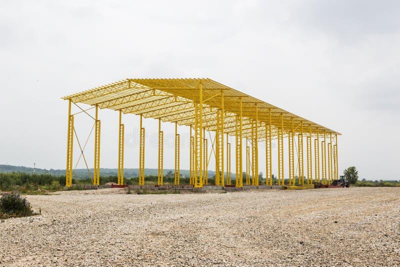A estrutura da armação de aço está sob a construção imagem de stock royalty free