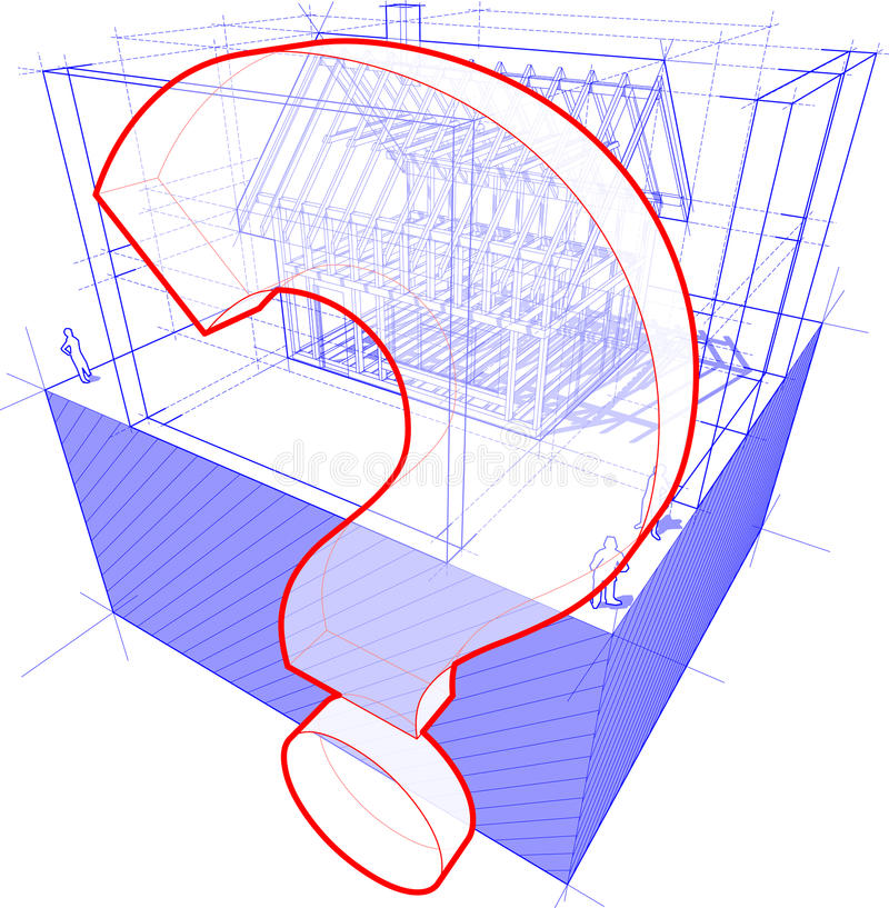 Estrutura da casa com dimensões e diagrama do ponto de interrogação ilustração do vetor