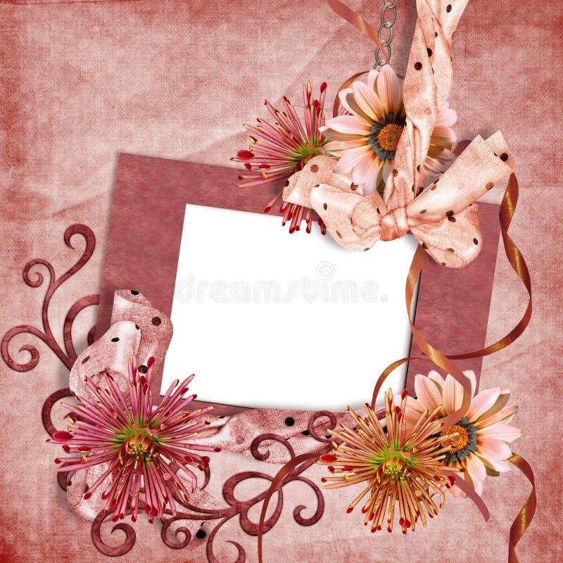 Estrutura da foto de RRetro com flores ilustração stock