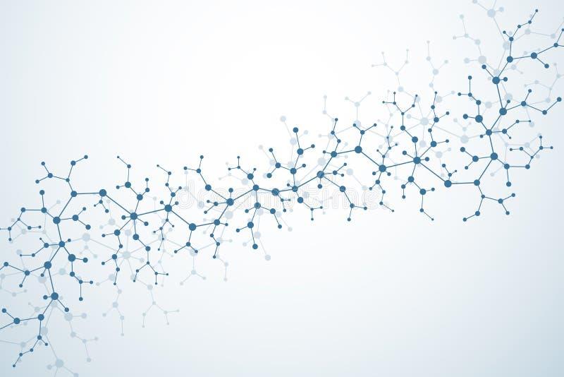 Estrutura da molécula com partículas Investigação médica científica Backgroud da ciência e da tecnologia Conceito molecular ilustração do vetor