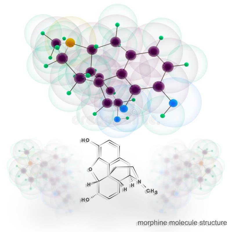 Estrutura da molécula da morfina ilustração stock