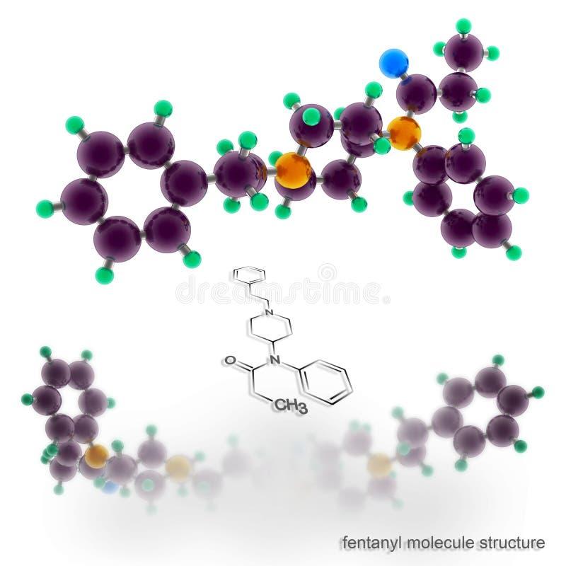 Estrutura da molécula do Fentanyl ilustração stock