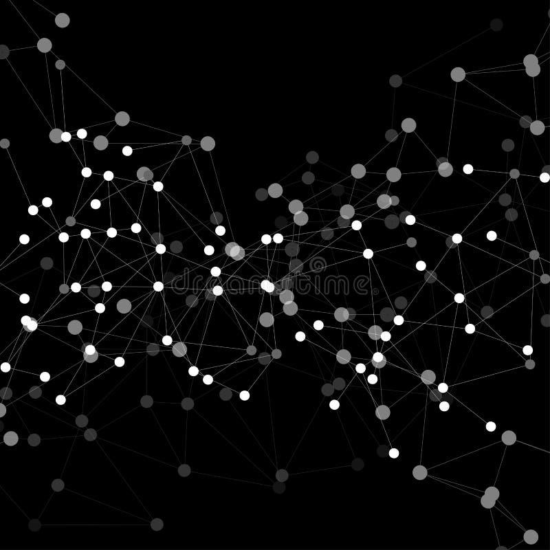 Estrutura da molécula, fundo preto para ilustração royalty free