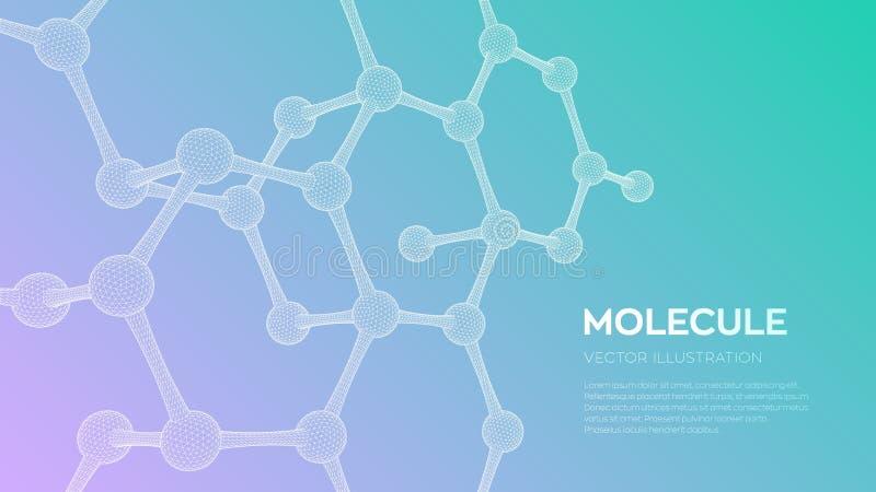 estrutura da mol?cula ADN, ?tomo, neur?nios Mol?culas e f?rmulas qu?micas fundo cient?fico da mol?cula 3D para a medicina, ci?nci ilustração royalty free