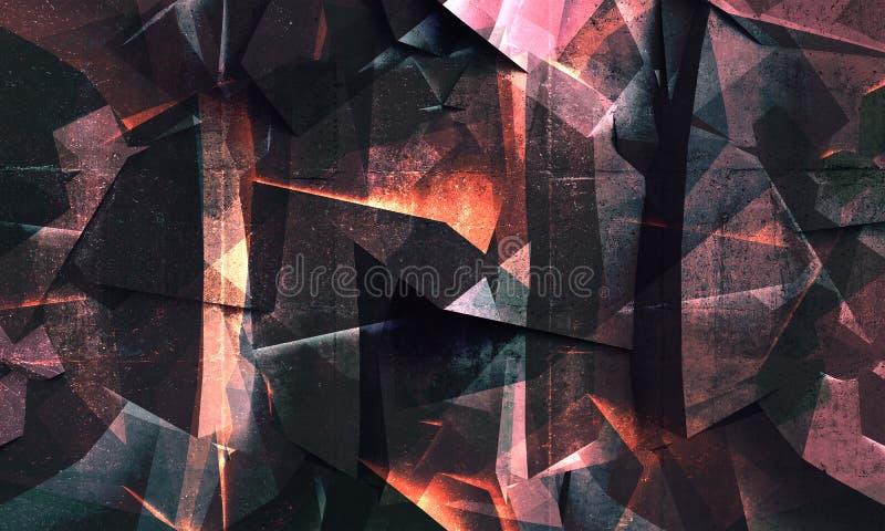 Estrutura de cristal poligonal concreta escura colorida abstrata ilustração do vetor