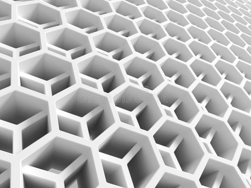 Estrutura de favo de mel dobro branca abstrata ilustração do vetor