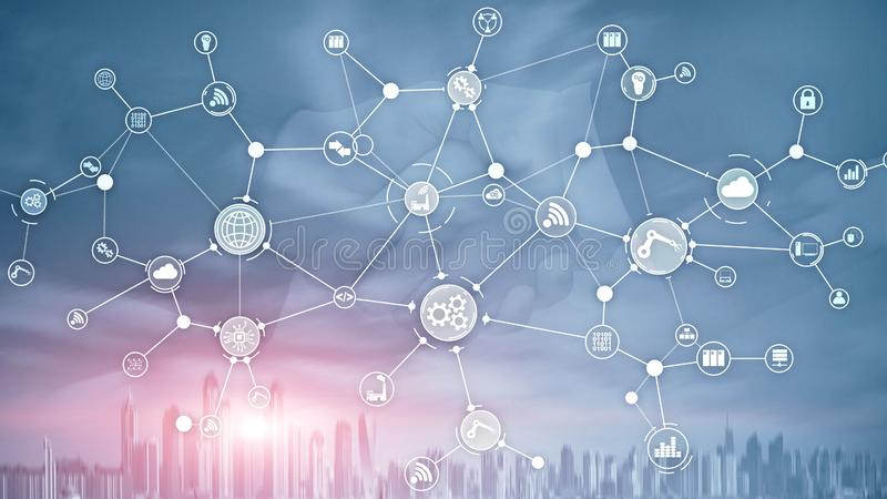 Estrutura de organização industrial dos trabalhos do processo de negócios da tecnologia na tela virtual Meios mistos espertos do  ilustração royalty free