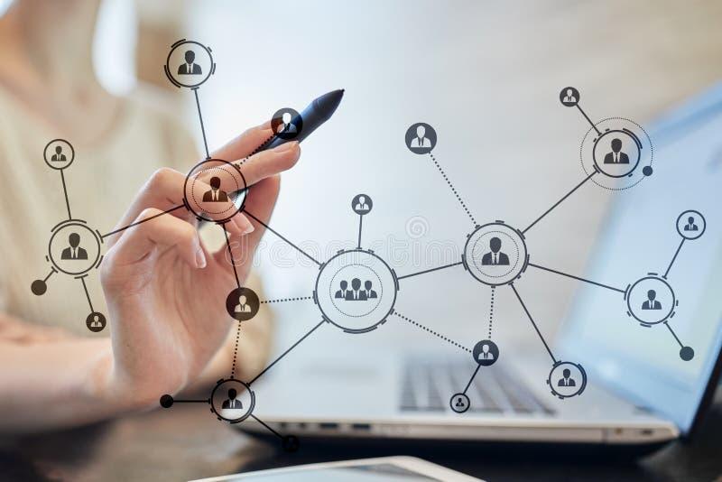 Estrutura de organização Rede do social do ` s dos povos Conceito do negócio e da tecnologia fotos de stock