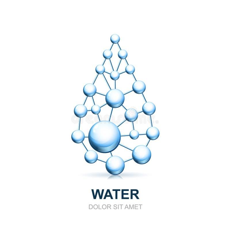 Estrutura de pilha molecular abstrata da gota da água ilustração royalty free