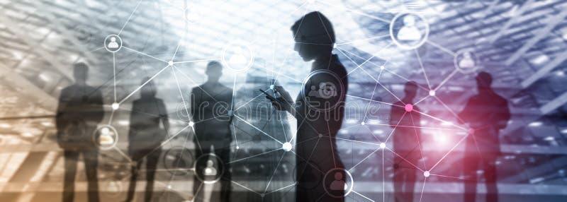 Estrutura de rede dos povos da exposição dobro Hora - Gestão de recursos humanos e conceito do recrutamento imagem de stock