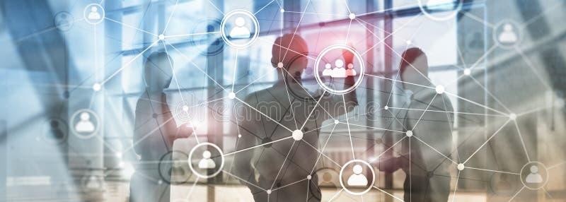 Estrutura de rede hora dos povos da exposição dobro - gestão de recursos humanos e conceito do recrutamento ilustração do vetor