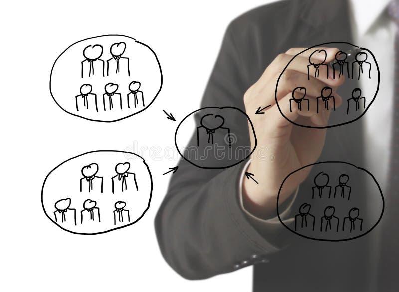 Estrutura de rede social de tiragem no whiteboard ilustração do vetor