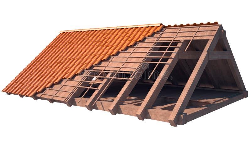 Estrutura de telhado da casa sob a construção no branco ilustração do vetor