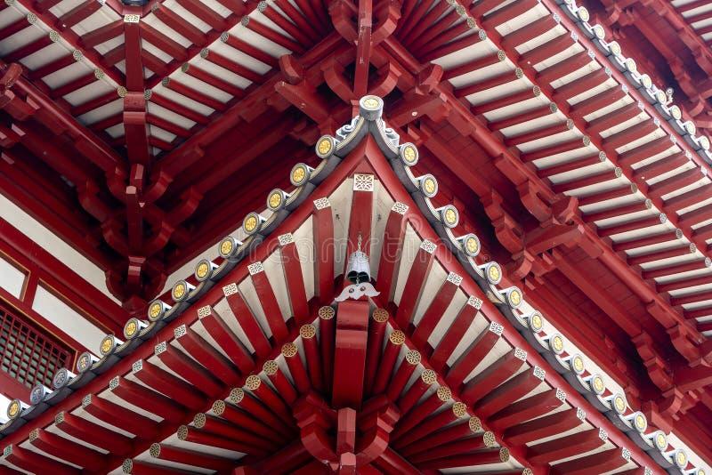 Estrutura de telhado do templo da relíquia do dente da Buda e do museu, bairro chinês, Singapura É arquitetura do estilo chinês foto de stock