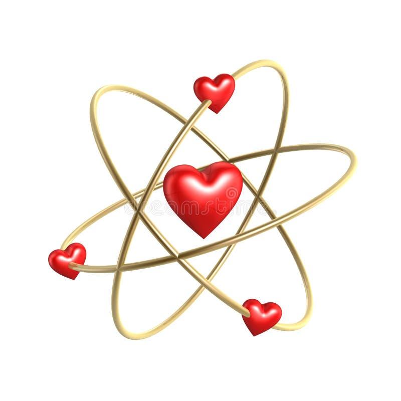 Estrutura do átomo do coração do amor ilustração do vetor