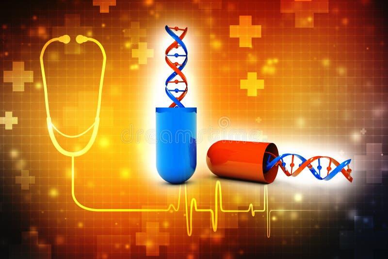 Estrutura do ADN com a cápsula médica no fundo digital 3d rendem ilustração royalty free