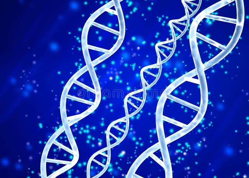 Estrutura do ADN no fundo azul abstrato ilustração stock