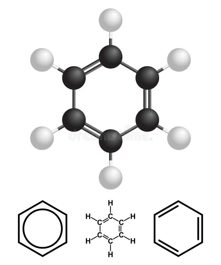 Estrutura do benzeno, fórmula isolada no fundo branco Ilustração do vetor ilustração royalty free