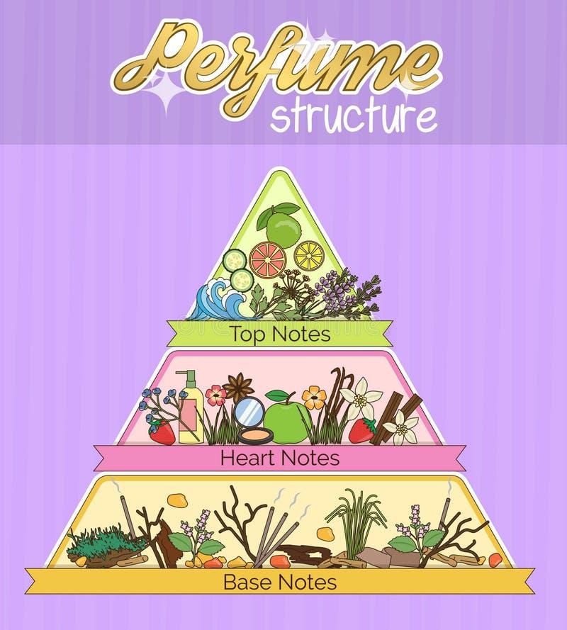 Estrutura do cartaz infographic da pirâmide do aroma ilustração royalty free