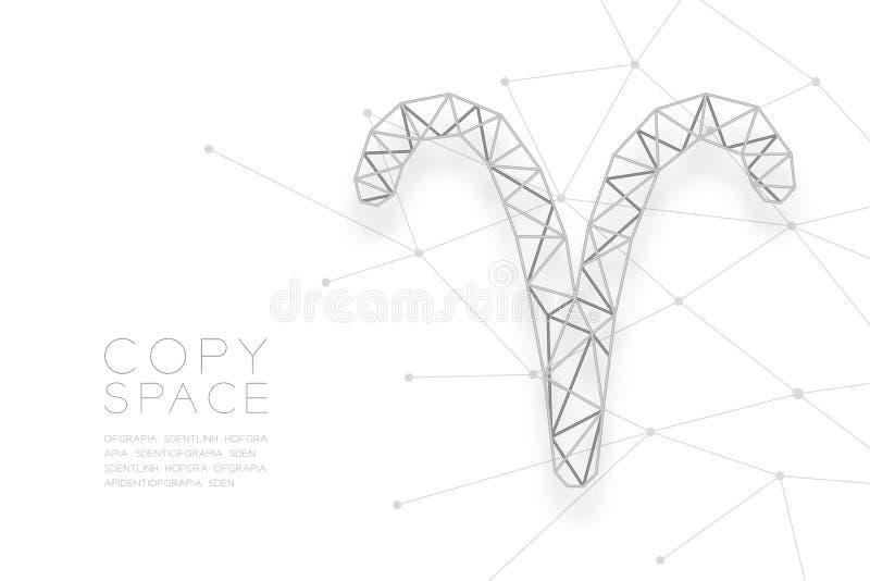 Estrutura do quadro da prata do polígono do wireframe do sinal de Aries Zodiac, forte ilustração stock
