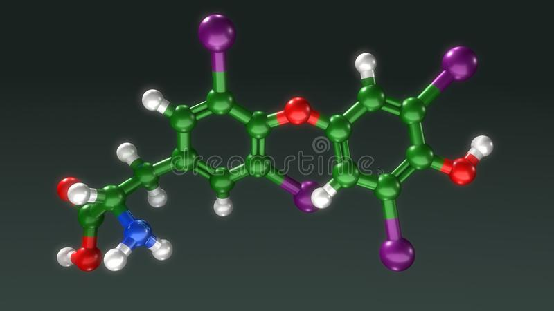 Estrutura do Thyroxine ilustração do vetor