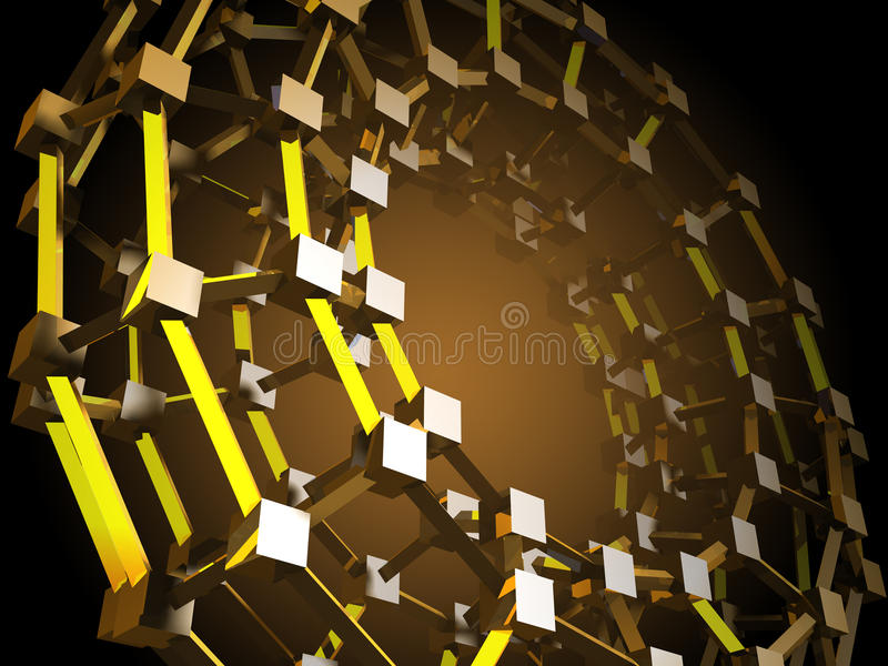 Estrutura geométrica abstrata dos cubos dourados ilustração do vetor