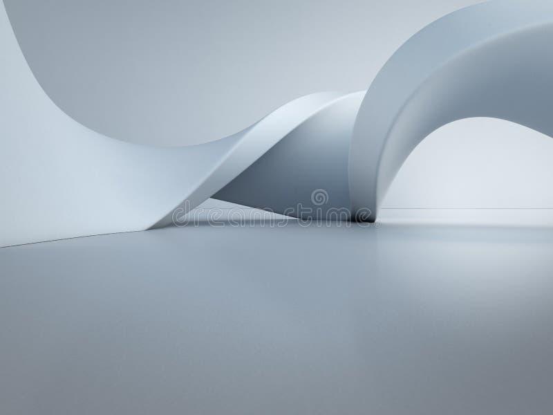 Estrutura geométrica das formas no assoalho concreto vazio com fundo branco da parede no salão ou na sala de exposições moderna fotografia de stock royalty free