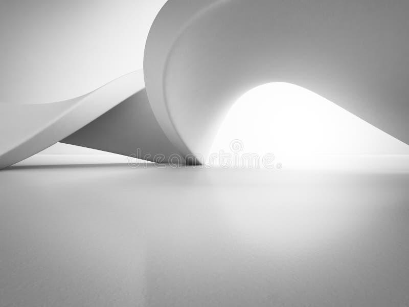 Estrutura geométrica das formas no assoalho concreto vazio com fundo branco da parede no salão ou na sala de exposições moderna fotos de stock