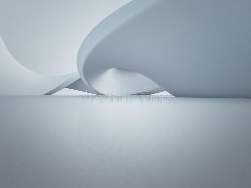 Estrutura geométrica das formas no assoalho concreto vazio com fundo branco da parede no salão ou na sala de exposições moderna fotos de stock royalty free