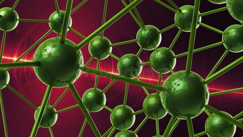 estrutura geométrica molecular verde do sumário do caos Illustra da rendição do fundo 3d da olá!-tecnologia da conexão de rede da fotografia de stock royalty free