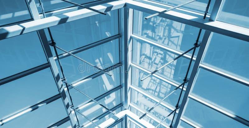 Estrutura interna do telhado de vidro fotos de stock