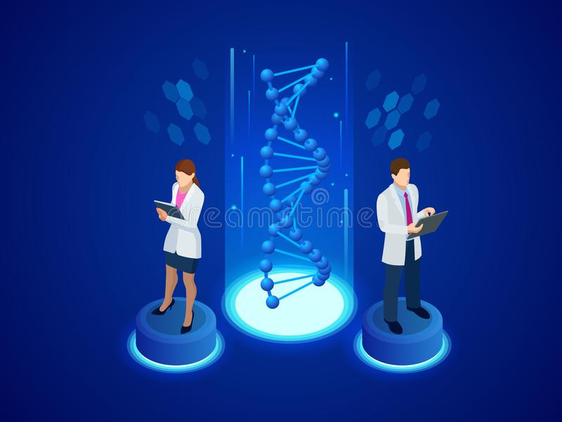 Estrutura isométrica do ADN de Digitas no fundo azul Conceito da ciência Sequência do ADN, ilustração do vetor da nanotecnologia ilustração royalty free