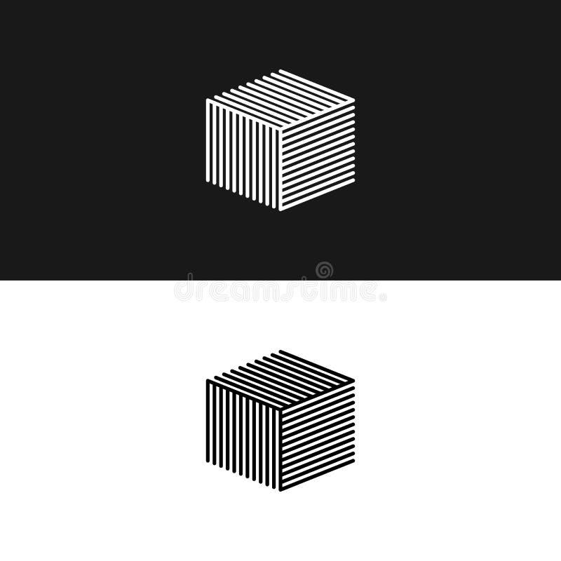 Estrutura isométrica linear do labirinto da caixa da arquitetura do logotipo 3D do cubo, elemento geométrico mínimo de construção ilustração royalty free