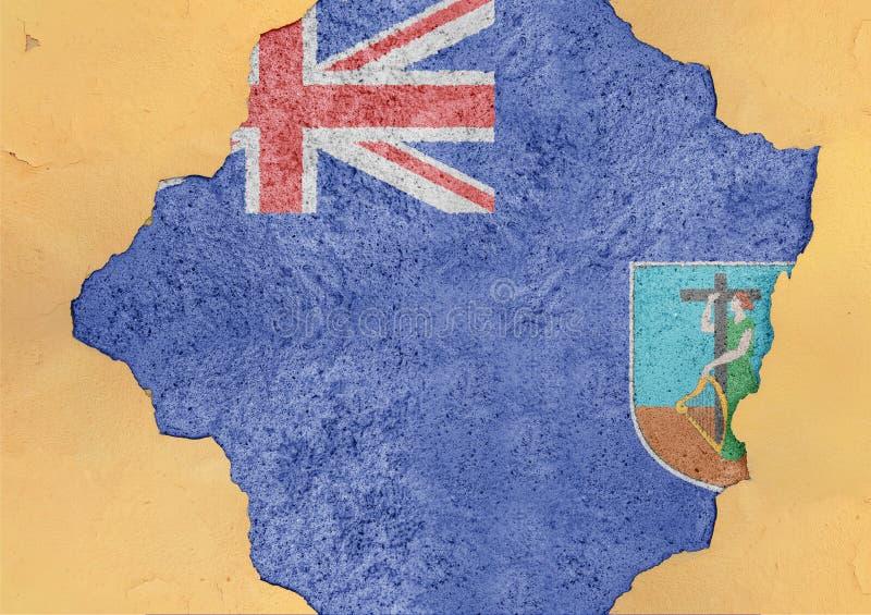 Estrutura material quebrada bandeira da fachada do estado de ilha de Monserrate imagem de stock royalty free
