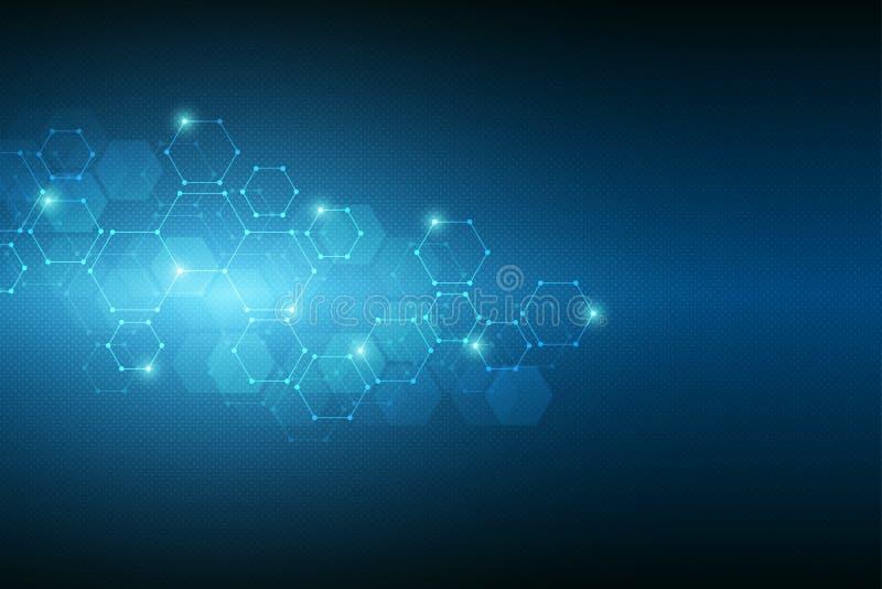 Estrutura molecular abstrata e elementos químicos Médico, ciência e conceito da tecnologia Fundo geométrico de ilustração stock