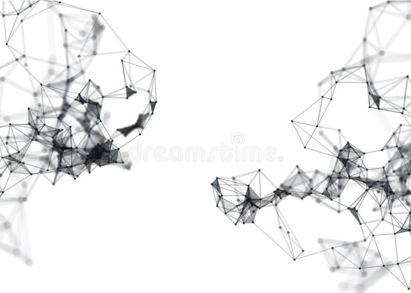 Estrutura molecular abstrata no fundo branco foto de stock royalty free